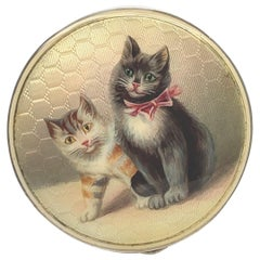 Antique Sterling and Enamel Cat Box