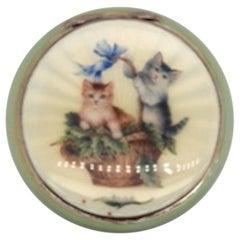 Antique Sterling and Enamel Cat Case