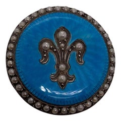 Antique Sterling, Enamel and Pearl Pin
