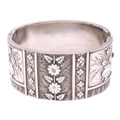 Antique Sterling Floral Bangle