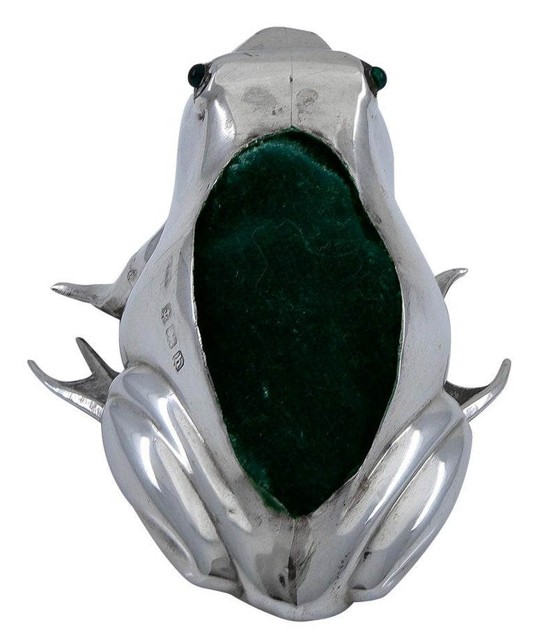 Women's or Men's Antique Sterling Frog Pincushion For Sale