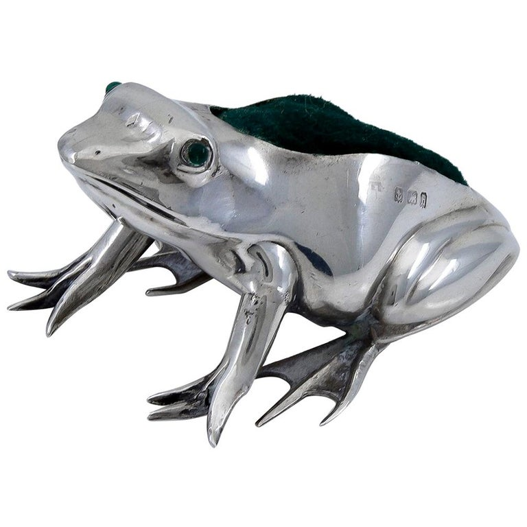 Antique Sterling Frog Pincushion For Sale