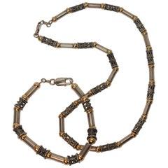Antique Sterling Silver & 14k Gold Link Necklace with Bracelet Set