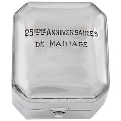 Antique Sterling Silver 25th Anniversary Ring Box