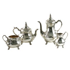 Antique Sterling Silver 4-Piece Engraved Tea & Coffee Set Daniel & Charles Houle