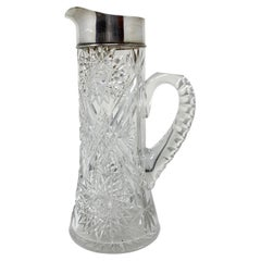 """Antique American """"Mauser Co"""" Sterling Silver & Cut Crystal Water Pitcher, 1890's"""