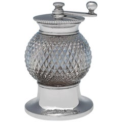 Antique Sterling Silver and Cut Glass Pepper Grinder, Hukin & Heath, 1913