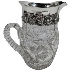 Antique Sterling Silver and Cut-Glass Water Pitcher by New York Maker