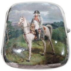Antique Sterling Silver and Enamel Cigarette Case with Napoleon Portrait