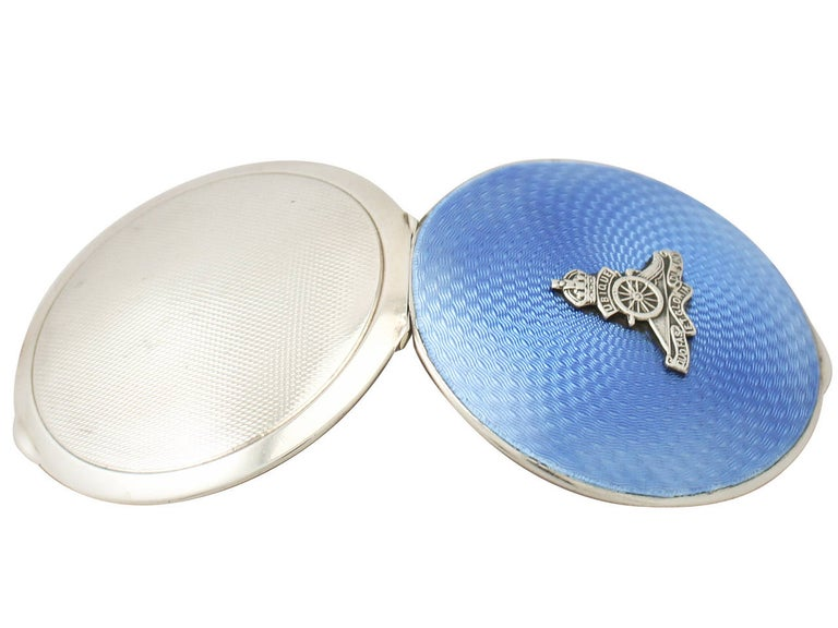 Antique Sterling Silver and Enamel Compact In Excellent Condition For Sale In Jesmond, Newcastle Upon Tyne
