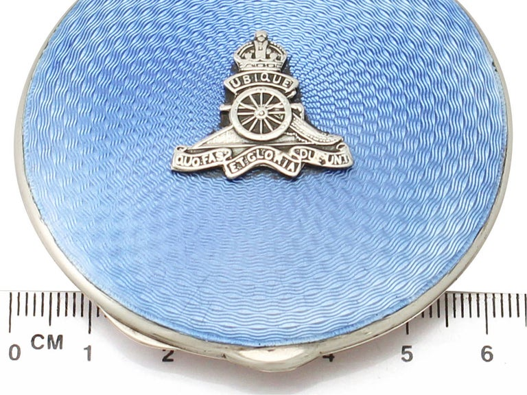 Antique Sterling Silver and Enamel Compact For Sale 4