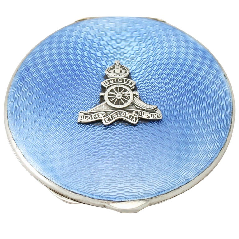 Antique Sterling Silver and Enamel Compact For Sale