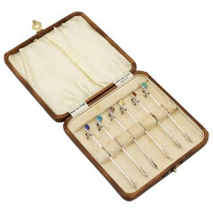 Antique Sterling Silver and Enamel Golf Club Cocktail Sticks
