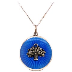 Antique Sterling Silver and Enamel Locket