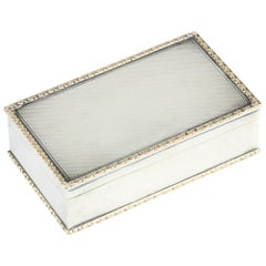 Antique Sterling Silver and Gold Trim Snuff / Tobbaco / Pill Box by Garrard & Co