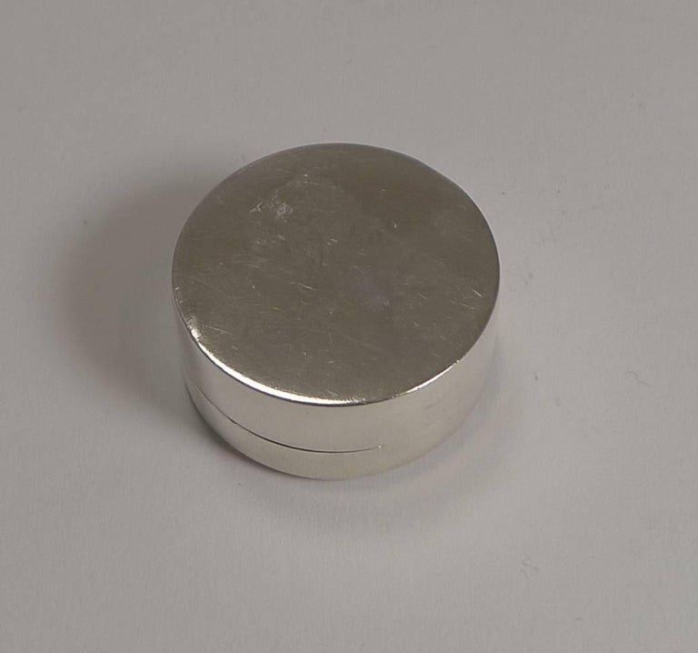 Enameled Antique Sterling Silver and Lilac Guilloche Enamel Pill Box For Sale