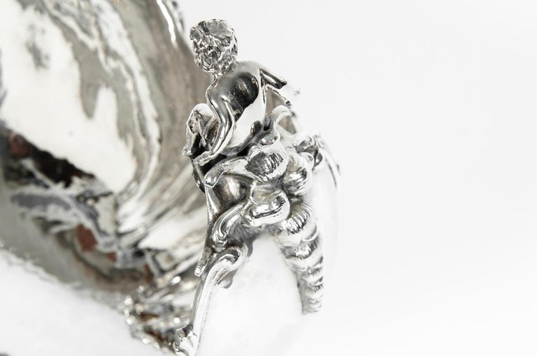 Italian Antique Sterling Silver Boat Shape Centrepiece For Sale