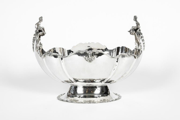 Early 19th Century Antique Sterling Silver Boat Shape Centrepiece For Sale