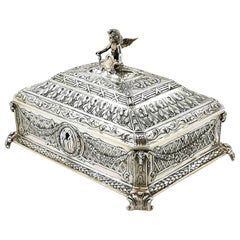 Antique Sterling Silver Box 1905 English Import Marks Jewellery Jewelry Trinket