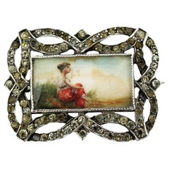 Antique Sterling Silver Brooch with Painting on Mother of Pearl