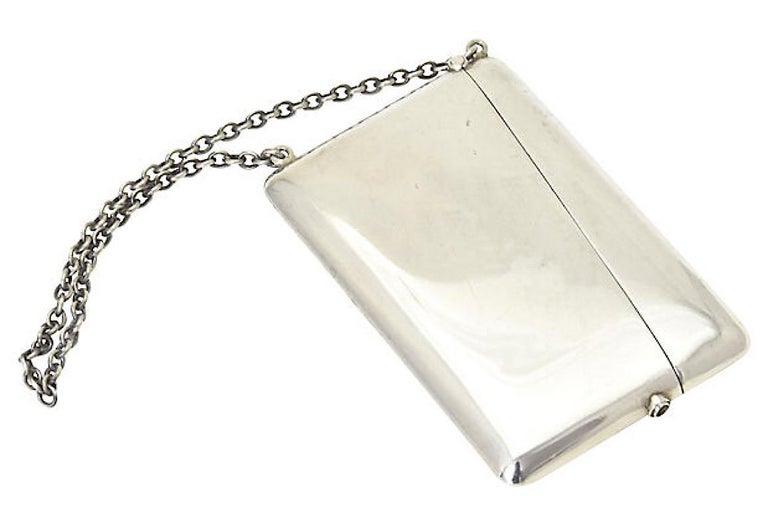 Beige Antique Sterling Silver Calling Card Case Purse For Sale