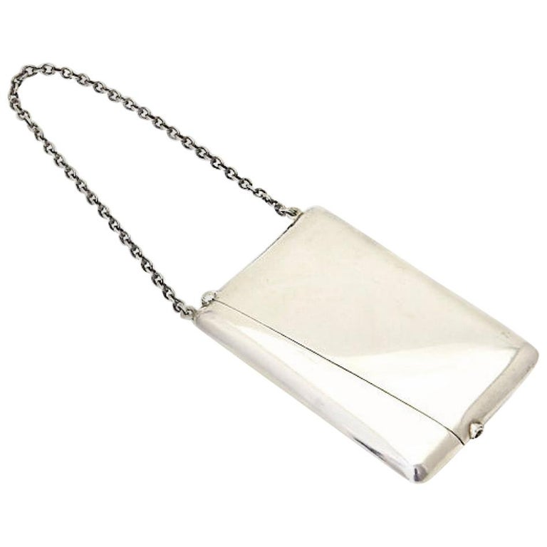 Antique Sterling Silver Calling Card Case Purse For Sale