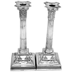 Antique Pair Sterling Silver Candlesticks 1901 Corinthian Column Candle Holders