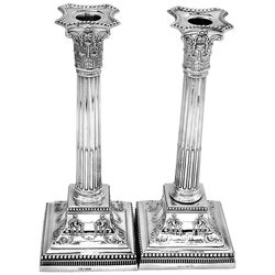 Antique Sterling Silver Candlesticks 1901 Corinthian Column Candleholders, Pair