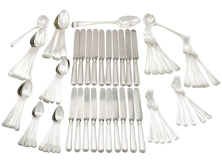 Antique Sterling Silver Canteen of Cutlery for Ten Persons For Sale 13