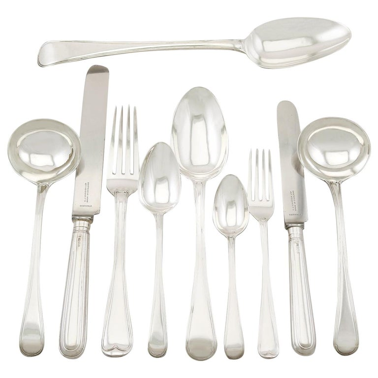 Antique Sterling Silver Canteen of Cutlery for Ten Persons For Sale