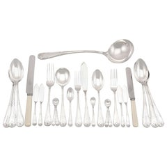 Antique Sterling Silver Canteen of Cutlery for Twelve Persons by Walker & Hall