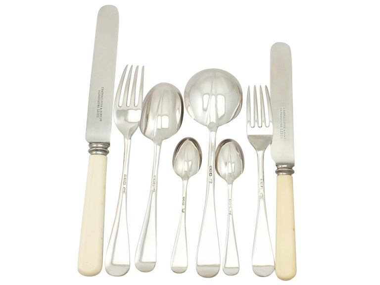 Antique Sterling Silver Canteen of Cutlery for Twelve Persons For Sale 3