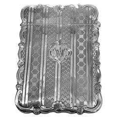 Antique Sterling Silver Card Case, Birmingham, 1866