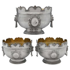 Antique Sterling Silver Centrepiece Suite of 3 'Monteith' Bowls by Barnards