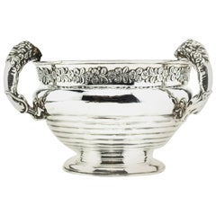 Antique Sterling Silver Champagne Cooler with Lion Handles, 1899