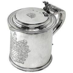 Sterling Silver Charles II Lidded Tankard / Beer Mug London 1680, 17th Century