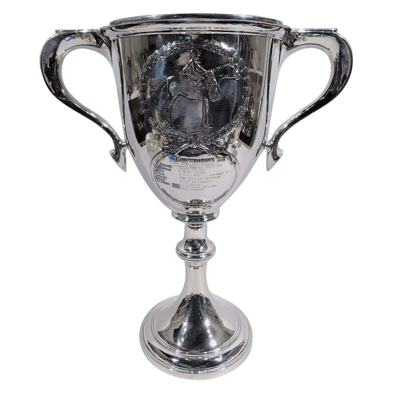 Antique Sterling Silver Chicago Hawthorne Horse Race Trophy Cup