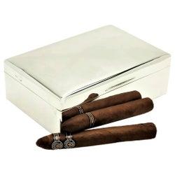 Antique Sterling Silver Cigar Cigarette Box, 1917