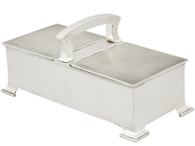 Art Deco Antique Sterling Silver Cigarette Box by Horton & Allday For Sale