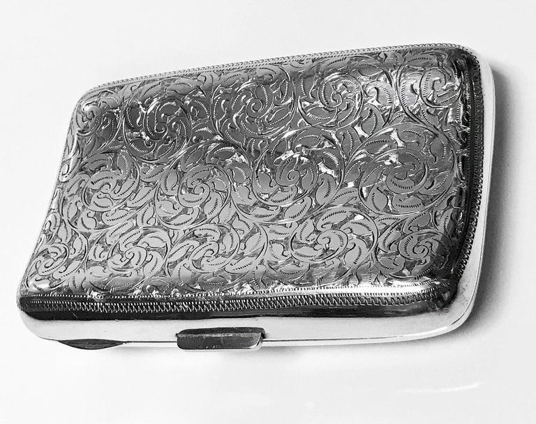 Women's or Men's Antique Sterling Silver Cigarette Case, Birmingham 1898 JR For Sale