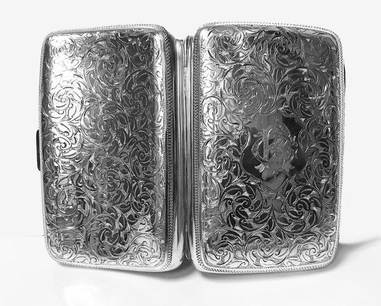 Antique Sterling Silver Cigarette Case, Birmingham 1898 JR For Sale 1