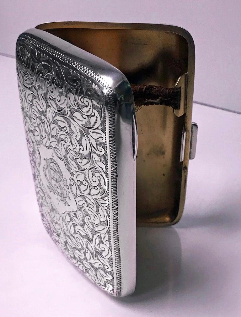 Antique Sterling Silver Cigarette Case, Birmingham 1898 JR For Sale 2