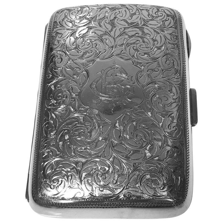 Antique Sterling Silver Cigarette Case, Birmingham 1898 JR For Sale