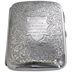 Antique Sterling Silver Cigarette Case Birmingham 1901 Samuel Levi