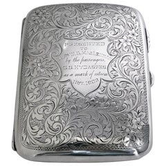 Antique Sterling Silver Cigarette Cigar Case, Birmingham, 1901, Samuel Levi