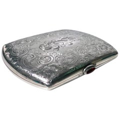 Antique Sterling Silver Cigarette or Card Case, American, circa 1920