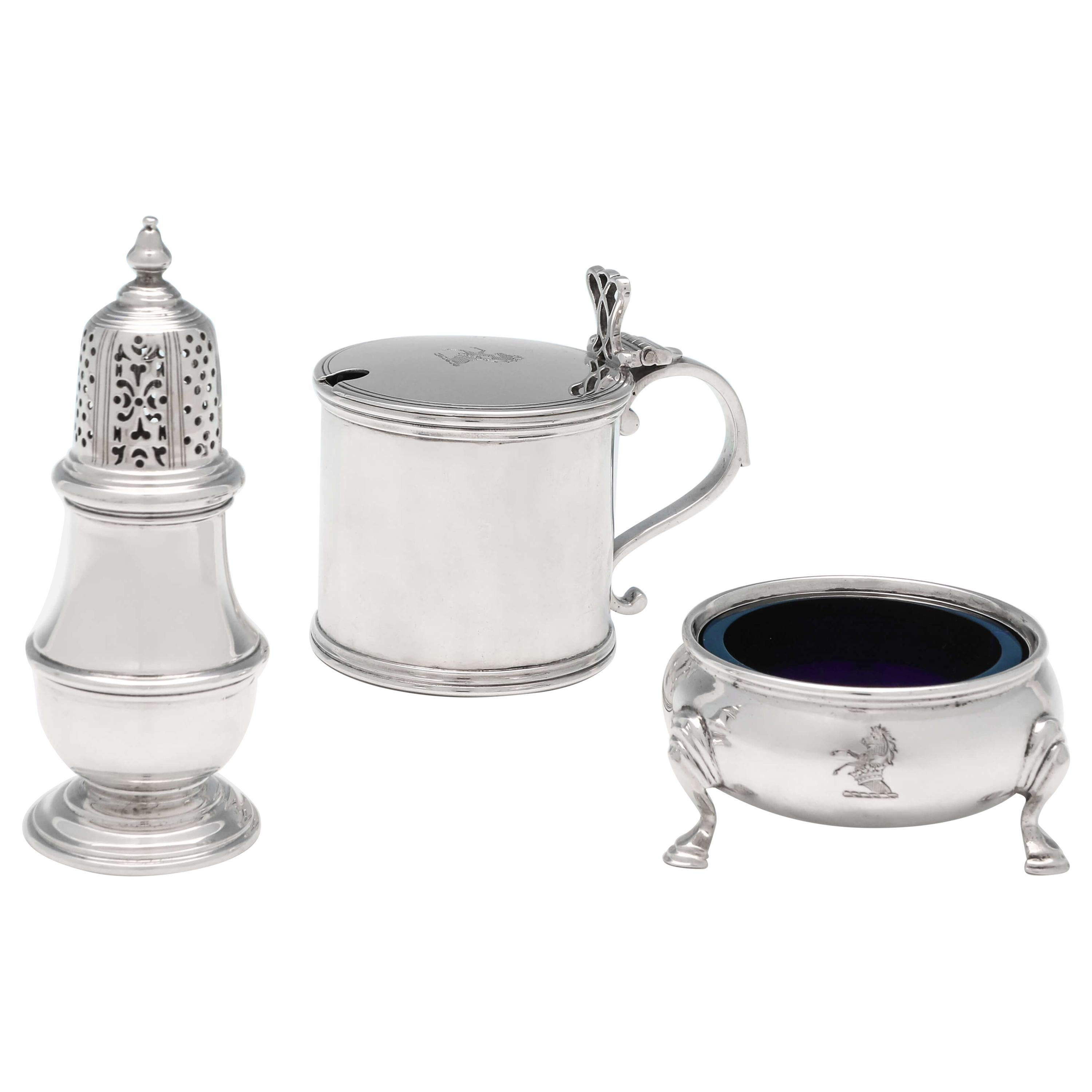 Antique Sterling Silver Condiment Set by Richard Comyns, London, 1919