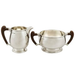 Antique Sterling Silver Cream Jug and Sugar Bowl, 1930s