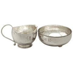 Antique Sterling Silver Cream Jug  / Creamer and Sugar Bowl