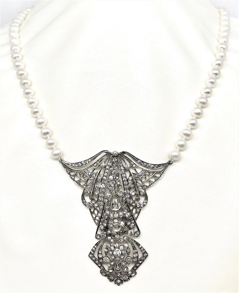 Antique Sterling Silver Crystal And Cultured Pearl